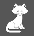 white cat isolated cute kitten is sitting pet vector image