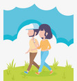 young couple walking in outdoor healthy vector image
