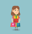young woman holding shopping bags and gift boxes vector image vector image