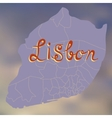 Stylized decorative map of Lisbon on a blurry vector image