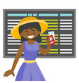 a black woman with a passport in airport vector image