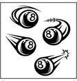 billiard 8 ball swoosh set 4 vector image