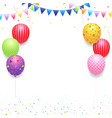 birthday banner card frame template with colorful vector image vector image