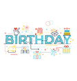 birthday word lettering vector image