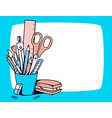 blue holder with stationery set in frame vector image vector image