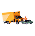 car crash accident on road lorry truck and vector image vector image