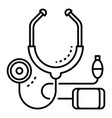 cardiology stethoscope icon outline style vector image