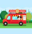 chef in pizza food truck cartoon vector image vector image
