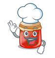 chef strawberry marmalade in glass jar of cartoon vector image