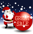 christmas sale card with santa vector image vector image
