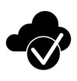 cloud with check solid icon cloud and tick vector image vector image