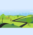 countryside with road trees hills sky vector image vector image