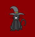 cute black cat in a witch hat sitting halloween vector image