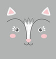 cute embroidery of white and pink toy cat vector image vector image