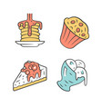 desserts color icons set pancakes muffin vector image vector image