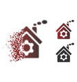 destructed dotted halftone plant building icon vector image vector image