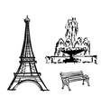 Eiffel Tower fountain bench drawn in pencil vector image vector image