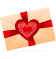 Envelope with red paper heart vector | Price: 1 Credit (USD $1)