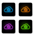 glowing neon cloud sync refresh icon isolated on vector image vector image