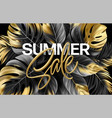 gold metallic summer sale lettering on a black vector image vector image