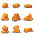 Golden rock set of art vector image