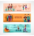 Hipster People Flat Banner Set vector image vector image