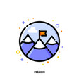 icon of red flag on mountain peak for business vector image vector image