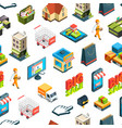 Isometric online shopping icons background