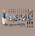 isometry is a vintage tailor a set gestures of vector image vector image