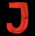 j red alphabet letter isolated on black background vector image