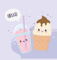 kawaii sweet dessert ice cream and cold drink vector image