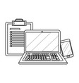 laptop with checklist in black and white vector image vector image