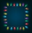 led Christmas lights like frame on blue vector image vector image