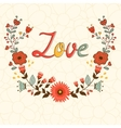 Love card Elegant card with floral wreath and vector image vector image