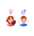 male and female icon set vector image vector image