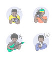 media professions african man avatars vector image vector image