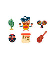 mexico icons set mexican cartoon symbols vector image