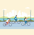 people riding bicycle cartoon active characters vector image vector image