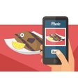 People taking photo of their food vector image vector image