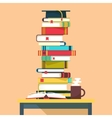 Pile or tower stack of books for school education vector image