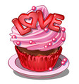 pink cake on saucer with cream letters love vector image vector image