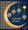 ramadan kareem background with lanterns moon vector image vector image