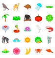 save nature icons set cartoon style vector image vector image