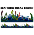 Seamless background with coral and seaweeds vector image vector image