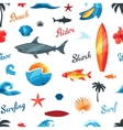 Seamless pattern with surfing design elements and vector image vector image