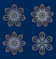 set of simple round floral golden mandala on blue vector image vector image