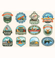 set summer camp canoe and kayak club badges vector image vector image