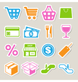 Shopping sticker icons set eps 10 vector image vector image