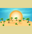summer desert with palm trees and tropical vector image