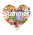 summer flowers bouquet in heart shape vector image